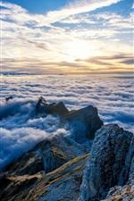 Preview iPhone wallpaper Switzerland, Mount Santis, peaks, clouds, sunrise