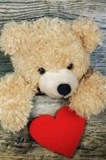 Preview iPhone wallpaper Teddy bear, wood board, love heart
