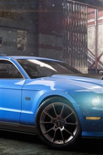 Preview iPhone wallpaper The Crew, Ford Mustang blue car