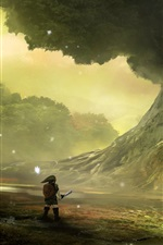 Preview iPhone wallpaper The Legend of Zelda, Nintendo, game, big tree, art picture