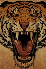 Preview iPhone wallpaper Tiger roar, face, art drawing