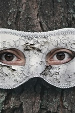 Preview iPhone wallpaper Tree, eyes, mask