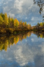 Trees, river, clouds, water reflection, autumn