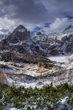 Triglav mountains, Alps, trees, snow, clouds, winter