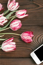 Preview iPhone wallpaper Tulips, coffee, phone, wood board