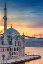 Preview iPhone wallpaper Turkey, Istanbul, bridge, mosque, river
