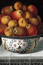 Preview iPhone wallpaper Two bowl of fruits, pears, apples, table