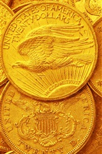 Preview iPhone wallpaper US dollars, gold coins
