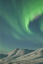 Preview iPhone wallpaper USA, Alaska, Northern lights, snow, mountains, winter