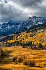 EUA, Colorado, árvores, vale, floresta, montanhas, nuvens, outono