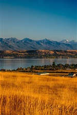 Preview iPhone wallpaper USA, Montana, Rocky Point, trees, valley, mountains, grass, river, autumn