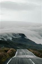 Preview iPhone wallpaper United Kingdom, Scotland, road, fog, morning