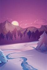 iPhone壁紙のプレビュー ベクトル画像、冬、雪、小屋、夜
