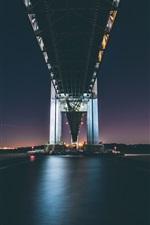 Preview iPhone wallpaper Verrazano Bridge, river, night, bottom view, lights, New York, USA