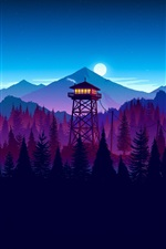 Preview iPhone wallpaper Watchtower, moon, mountains, forest, art picture