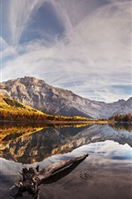 Preview iPhone wallpaper Water, lake, mountains, trees, clouds, reflection, autumn