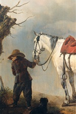Preview iPhone wallpaper White Horse, oil painting