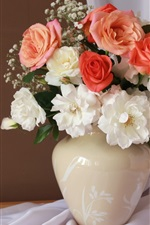 Preview iPhone wallpaper White and pink roses, vase