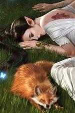 Fatia branca fantasia garota e raposa dormem na grama