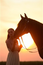 Preview iPhone wallpaper White skirt girl and horse at sunset