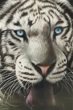 Preview iPhone wallpaper White tiger face, blue eyes, tongue