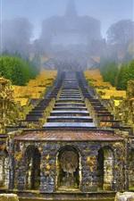 iPhone fondos de pantalla Wilhelmshohe Mountain Park, Alemania, escaleras, árboles, niebla, otoño