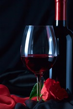 Preview iPhone wallpaper Wine, bottle, glass cup, red rose, cloth