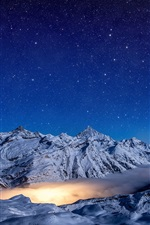Winter, mountains, clouds, night, starry, snow