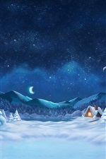 Preview iPhone wallpaper Winter, snowy, trees, hut, lights, starry, moon