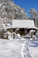 iPhone fondos de pantalla Invierno, nieve espesa, cabaña, árboles