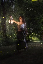 Preview iPhone wallpaper Woman in the forest, night, lights, magic