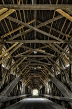Preview iPhone wallpaper Wooden bridge, tunnel
