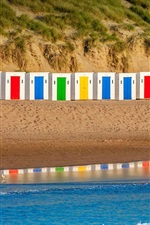 Preview iPhone wallpaper Woolacombe beach, England, Devon, colorful huts