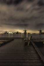 Preview iPhone wallpaper Zaanse Schans, Netherlands, night, windmills, bench, dusk