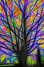 Preview iPhone wallpaper Abstract tree, colorful lines, glow