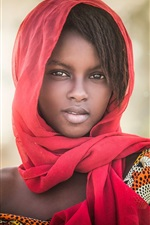 Preview iPhone wallpaper African girl, portrait, scarf