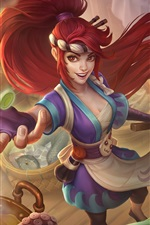 Preview iPhone wallpaper Akali, League of Legends, red hair girl