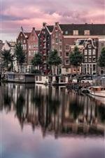 iPhone fondos de pantalla Amsterdam, Países Bajos, vista a la ciudad, casas, río, barcos