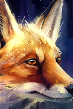 Preview iPhone wallpaper Animal painting, fox