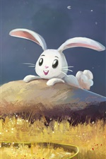 Preview iPhone wallpaper Art painting, happy white bunny, grass, butterfly