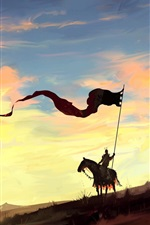 Vorschau des iPhone Hintergrundbilder Kunstmalerei, Ritter, Pferd, Fahne