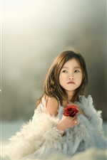 Preview iPhone wallpaper Asian child girl, feathers, rose