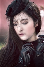 Preview iPhone wallpaper Asian girl, black dress, gloves, veil