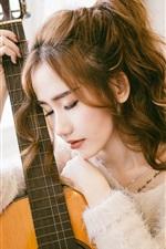 Preview iPhone wallpaper Asian girl, curls, guitar, musical