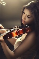 Preview iPhone wallpaper Asian girl play violin, light lines