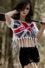 Preview iPhone wallpaper Asian girl, shorts, summer, guitar