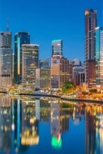 Preview iPhone wallpaper Australia, QLD, city, skyscrapers, Brisbane River, lights, dusk