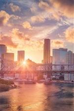 Preview iPhone wallpaper Australia, QLD, skyscrapers, bridge, river, sunset, glare, city view