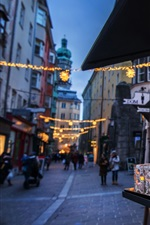 Preview iPhone wallpaper Austria, Innsbruck, street, lanterns, holiday