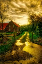 Preview iPhone wallpaper Austria, road, water, house, autumn, trees, HDR style